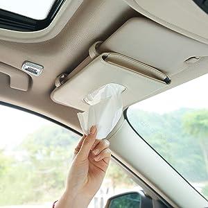 Fredysu Car Tissue Holder, Sun Visor Napkin Holder, Car Leather Tissue Case Holder for Sun Visor & Seat Back with Tissue Refill (Beige)