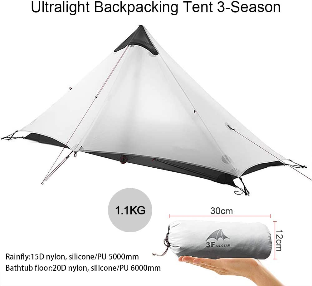 KIKILIVE Ultralight Tent 3-Season Backpacking Tent for 1-Person or 2-Person Camping, New LanShan Outdoor Camping Tent Shelter,Perfect for Trekking, Kayaking, Climbing, Hiking (NOT included Trekking Pole)