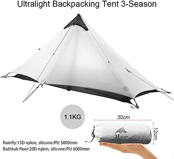 KIKILIVE Ultralight Tent 3-Season Backpacking Tent for 1-Person or 2-Person Camping