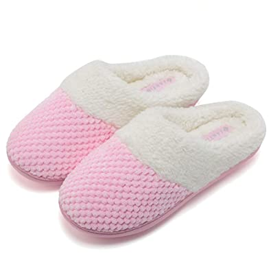 13202fa9155b FANTURE Women s Comfort Coral Fleece Memory Foam Slippers Plush Lining Slip-on  Clog House Shoes