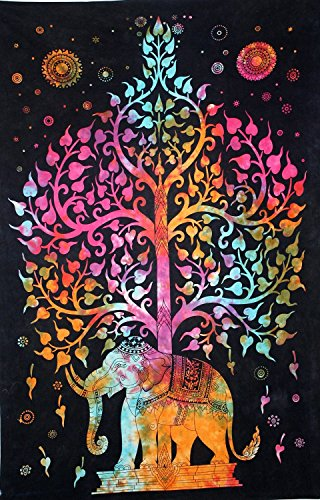 Wall Hanging Tapestry Elephant Tree Of Life BOHO Tie Dye Hippie for Bedroom Decoration Dorm Room Beach Bedspread Large 52x82 by Your Spirit Space ()