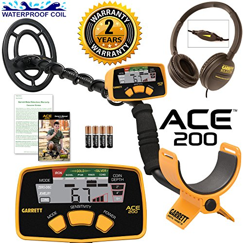 Garrett ACE 200 Metal Detector with Waterproof Coil and Clearsound Headphones by Garrett