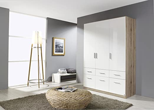 Kleiderschrank weiß hochglanz 3 türig  Rauch Kleiderschrank Weiß Hochglanz mit 6 Schubladen 3-türig ...