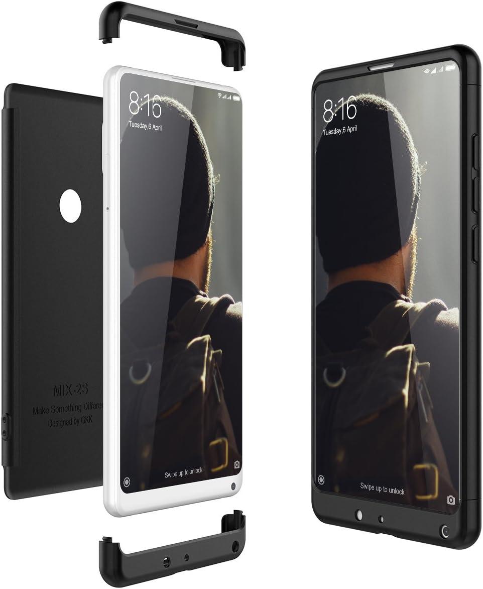CE-Link Funda Xiaomi Mi Mix 2S Carcasa Fundas para Xiaomi Mi Mix 2S 360 3 en 1 Desmontable Ultra-Delgado Anti-Arañazos Case Protectora - Negro