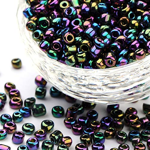 (Craftdady 6/0 4mm Electroplate Metallic Color Glass Iris Round Pony Seed Beads for DIY Jewelry Craft Making About 4500pcs/Pound)