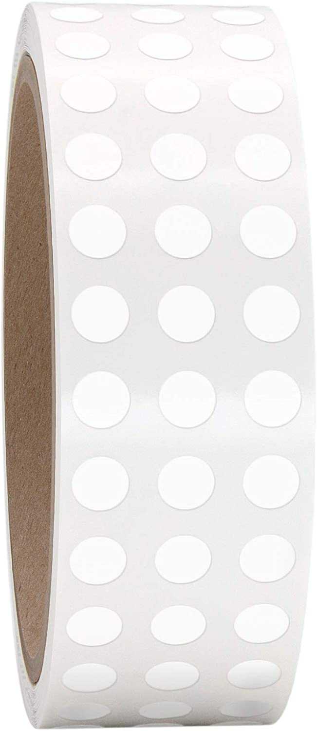 """1/4"""" Bright White Round Color Coding Circle Dot Labels on a Roll, Semi-Gloss Finish, 1000 Stickers.25 inch Diameter"""