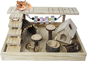 Dwarf Hamster Natural Living Climb System,Gerbil Playground Activity Set Platform Toy Apple Wood Exercise Chewing Toys for Teeth Wooden Small Pets House Hideouts Hut Castle withLadder Bridge Playing