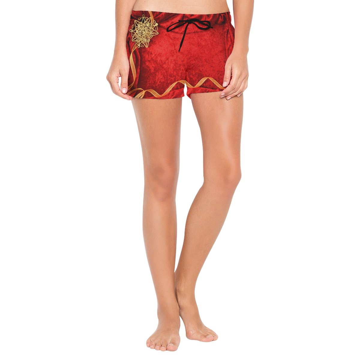 XiangHeFu Women's Beach Shorts Wedding Invitation Card Red Background Swim Trunk with Pockets