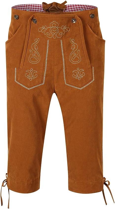KOJOOIN Trachten Set Herren Lederhose Trachten Weste Trachtenlederhose Kniebundhose mit Trägern für Bayerisch, Oktoberfest, Hochzeit (Verpackung