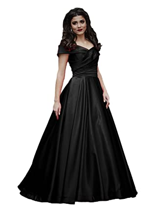 Ruolai Off The Shoulder Ruffled Satin Evening Dress Floor Length Prom Gowns Black 2