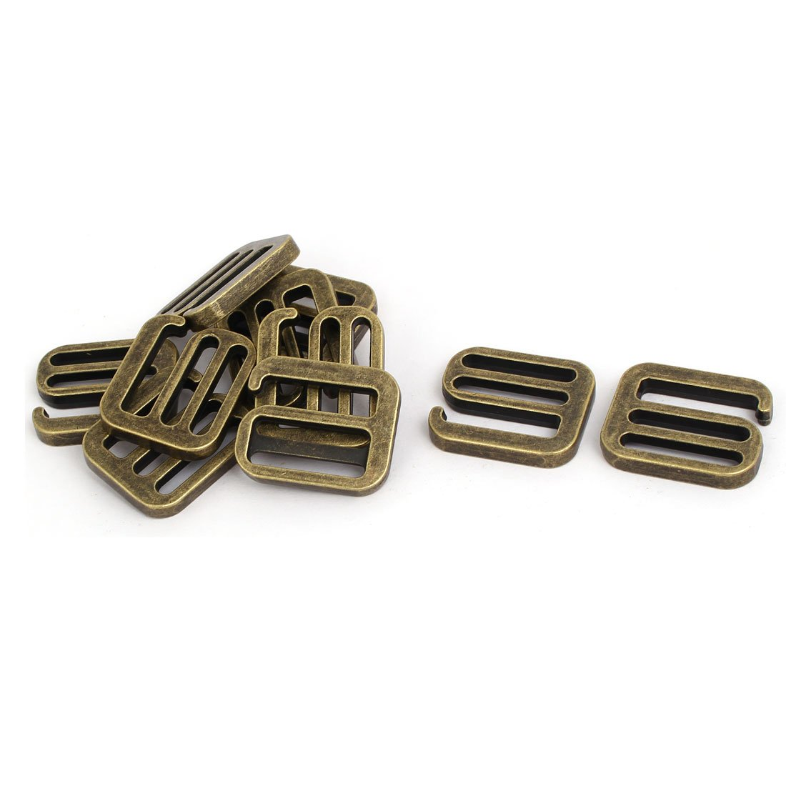 uxcell 33.5mmx28mmx5mm Strap Adjustable Buckle Rings Slides Hooks Bronze Tone 10pcs