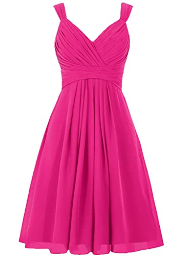 ELLAGOWNS Women's V Neck Chiffon Bridesmaid Dress Short Prom Gown