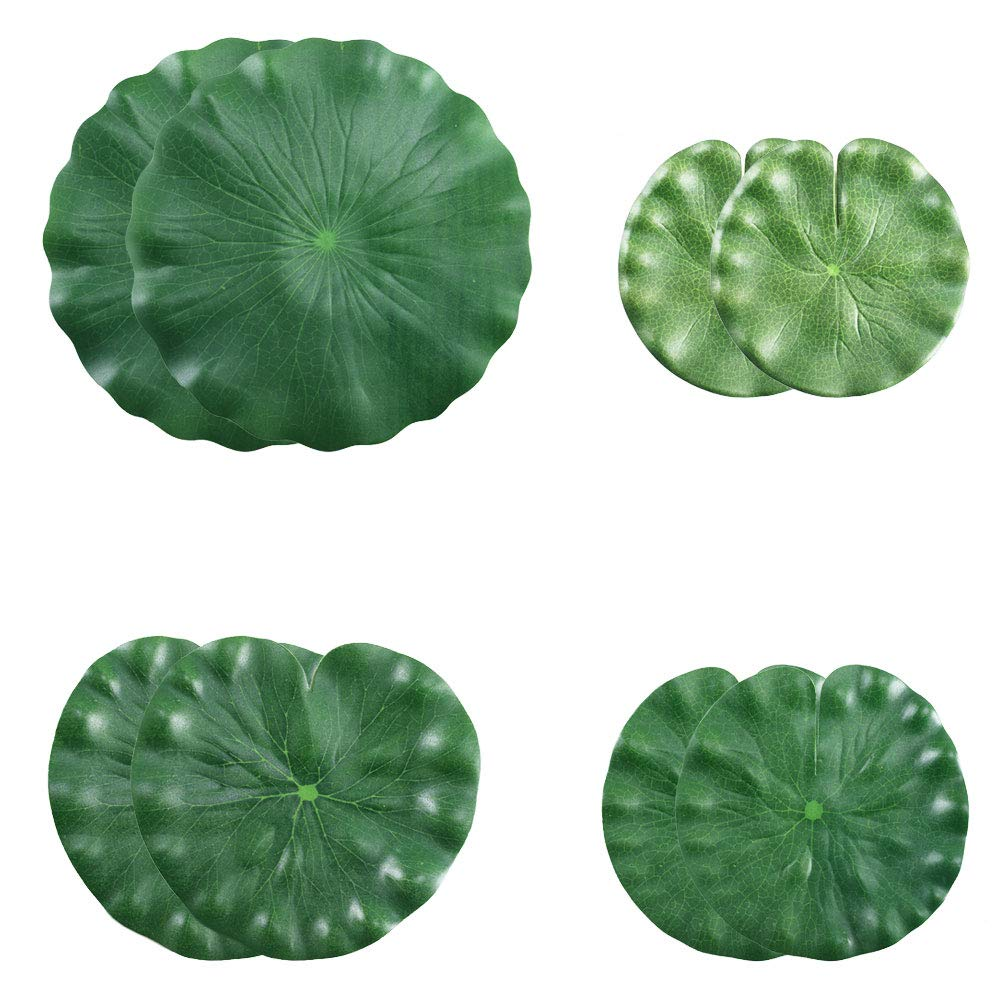 HO2NLE-Artificial-Lilies-Pad-Realistic-Non-Toxic-Floating-Water-Mat-for-Home-Garden-Patio-Koi-Pond-Aquarium-Swimming-Pool-Bird-Baths-Wedding-Party-Decor-Pack-of-8-15cm18cm22cm30cm