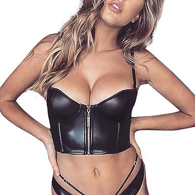 Women Spaghetti Straps PU Leather Bustier Crop Top Sleeveless Vest Cami Tank Top
