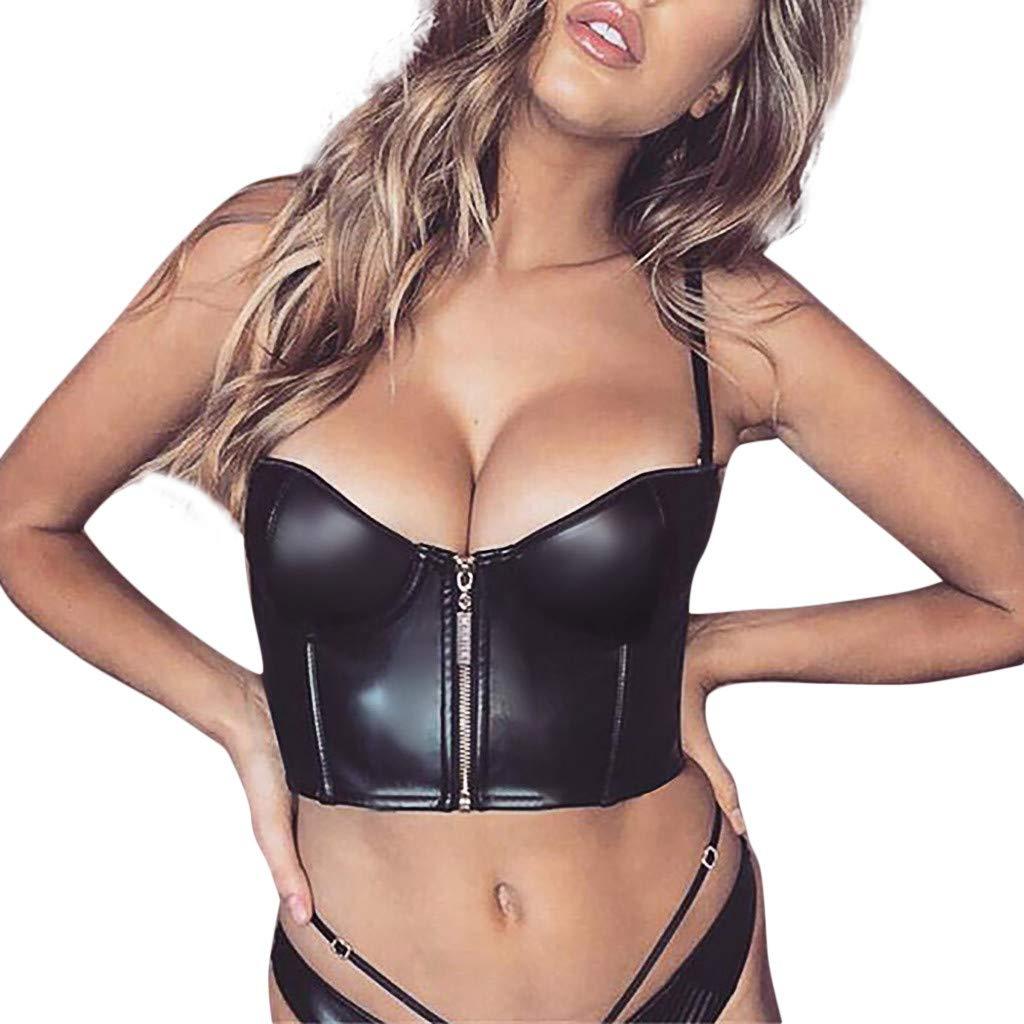 Hotkey Women's Tanks Tops Pack Womens Sexy Vest Fashion Zipper Leather Camisole Sleeveless Tank Tops Black