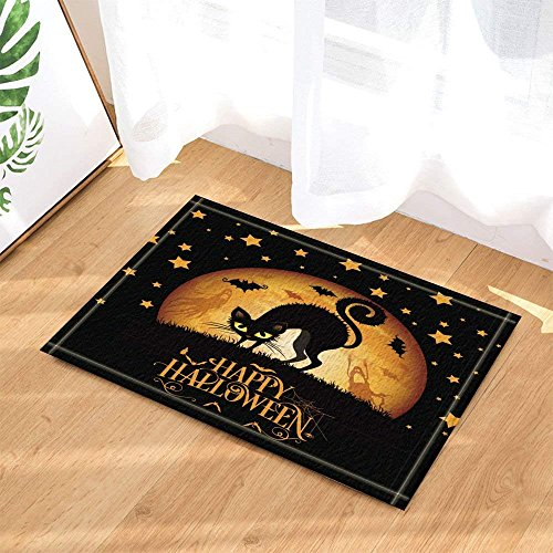 Halloween Decor Black Cat Stands on Grass Against Full Moon and Flying Bats Bath Rugs Non-Slip Doormat Floor Entryways Indoor Front Door Mat Kids Bath Mat 15.7x23.6in Bathroom Accessories