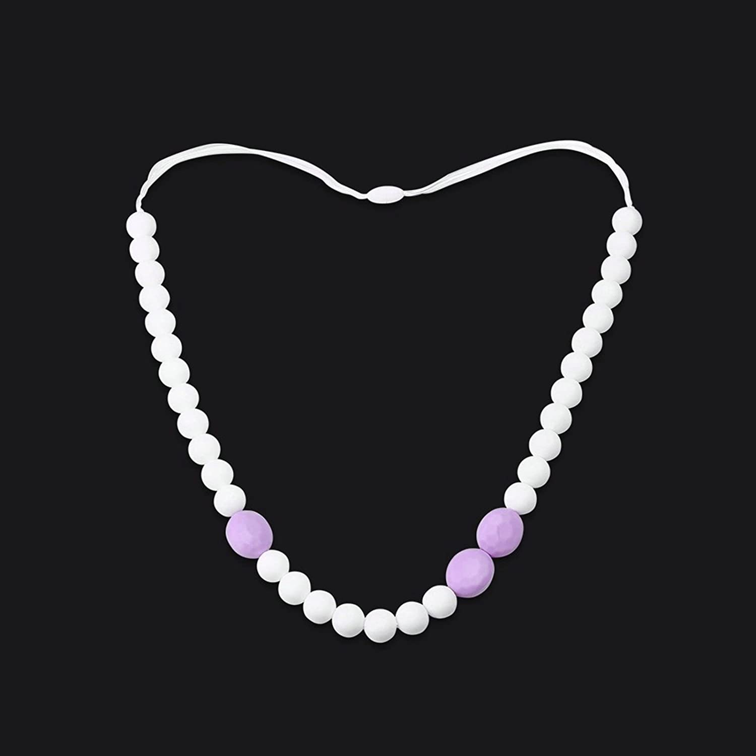 80CM KnSam Silicone Teething Necklace for Women and Baby Ball Connection Purple White Chain Length