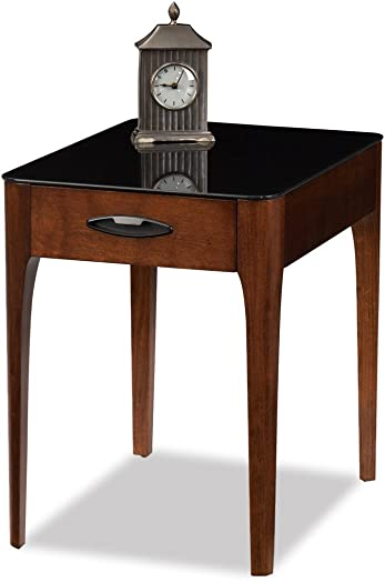 Contemporary Black Tempered Glass Top Side End Table