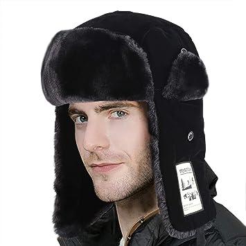 RUSSIAN FUR TRAPPER HAT Mens Large winter cossack Gents grey ushanka camping