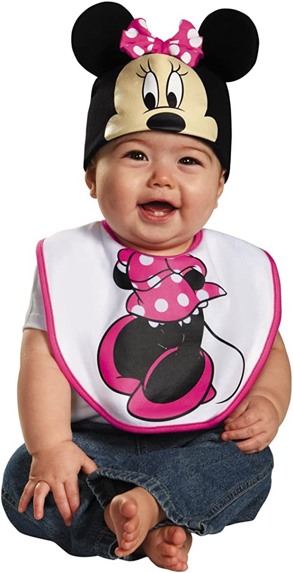 amazon com disguise baby girl s disney mickey mouse pink minnie infant bib and hat costume pink 0 6 mths clothing amazon com
