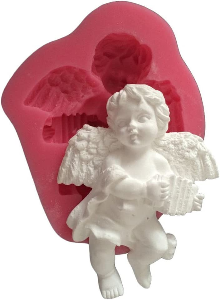 FLY Accordion Angel 3D Silicone Fondant Cake Mold For Cake Decorating Baking Mould,Pink