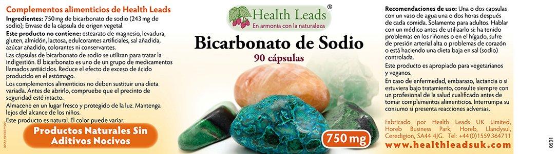 Bicarbonato de sodio 750mg x 90 Cápsulas: Amazon.es: Salud y cuidado personal
