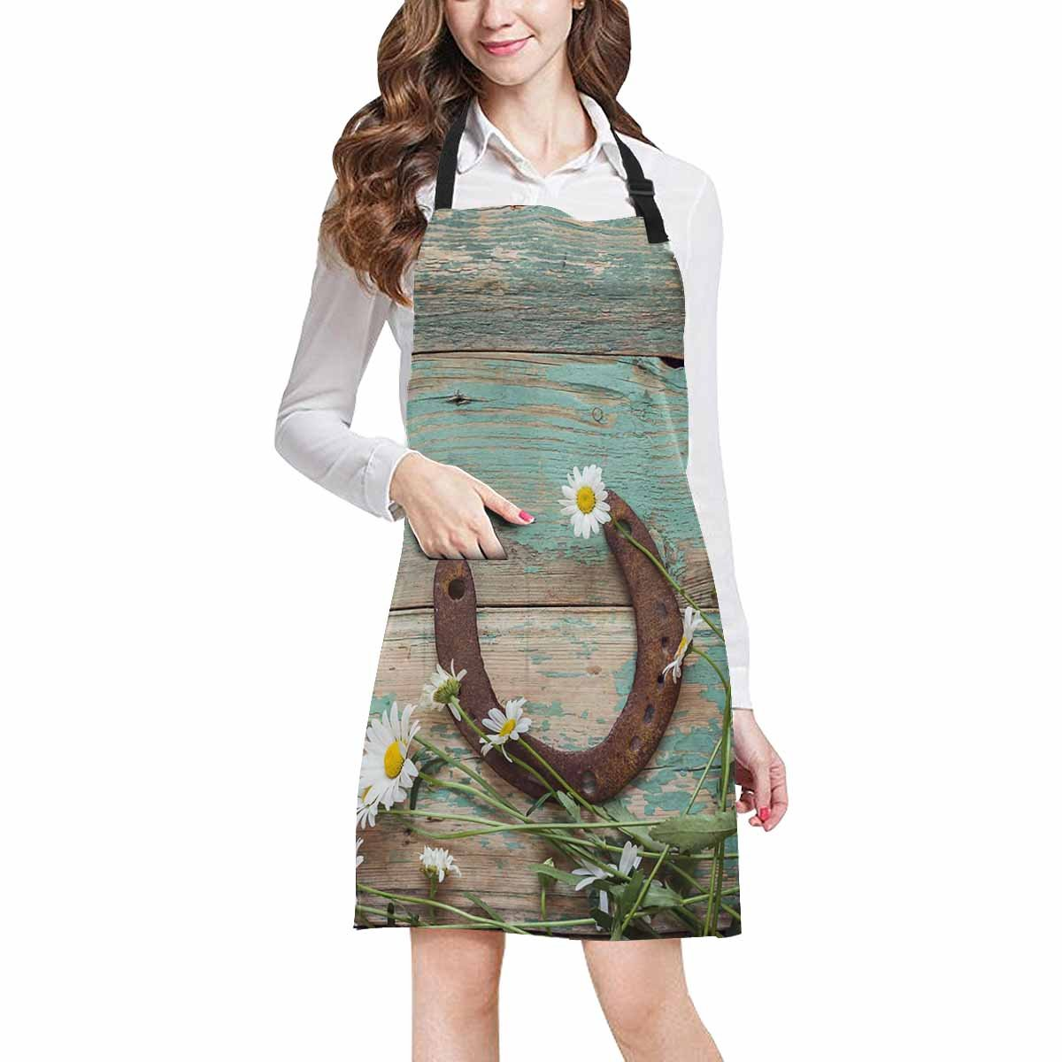 InterestPrint Rusty Horseshoe and Daisies on Rustic Old Barn Wood Chef Aprons Professional Kitchen Chef Bib Apron with Pockets Adjustable Neck Strap, Plus Size