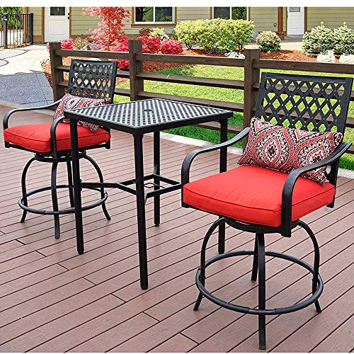 (Patio Time Outdoor Furniture 3 Pcs 360 Degree Rotation Swivel Bar Stools with Square Table, Patterned Pillow, Red Seat Cushion)