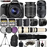 Canon EOS 80D Digital SLR Camera + Canon 18-55mm STM Lens + Tamron 70-300mm Lens + 650-1300mm Zoom Lens + 500mm Telephoto Lens + 0.43X Wide Angle Lens + 2.2x Photo Professional- International Version