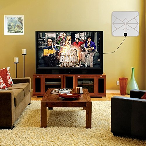 Wsky 60 Miles 1080P Transparent Digital HDTV Antenna Best Hdtv Antenna Indoor Upgraded Silver Paddle Extremely High Reception Super FUN and FREE for LIFE TV Antennas