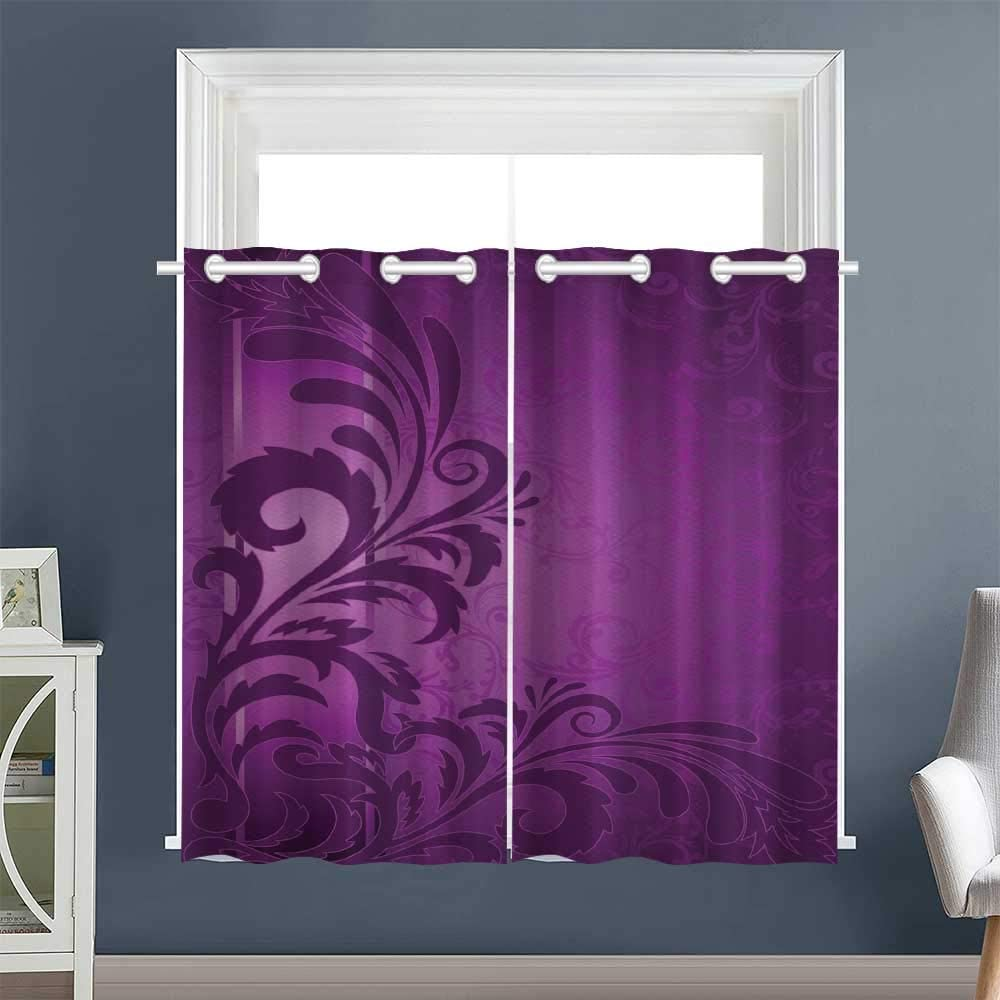 Linhomedecor Curtain Panels Retro Abstract Floral Grommet Curtain Doorway Set of 2 Panels Purple Purple Plum (1 Pair, 52