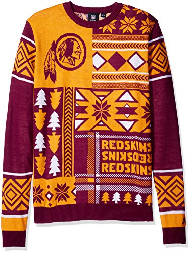 NFL Washington Skins Patches Ugly Sweater, Red, X-Large
