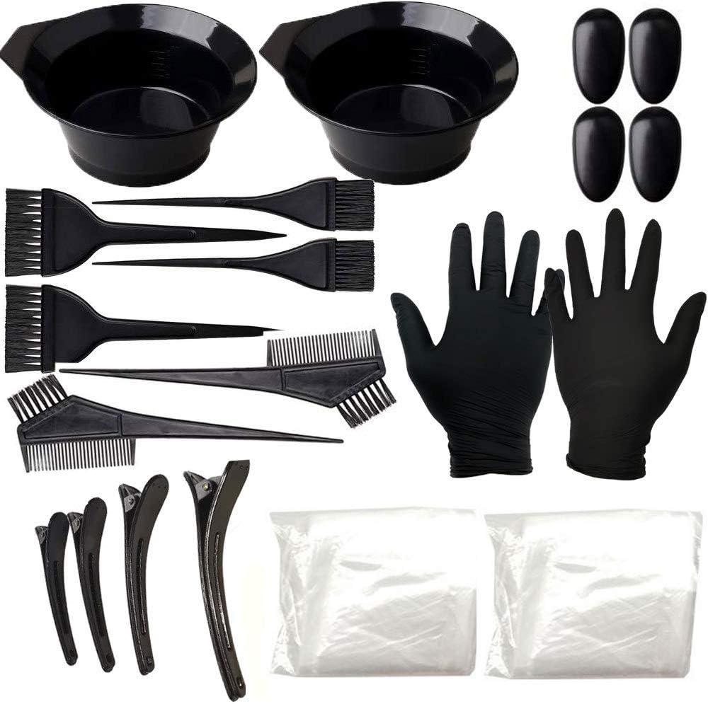 Hair Dye Coloring Highlighting Kit - Hair Tinting Bowl, Dye Brush, Ear Cover, Hair Coloring Cape, Shower Cap, Gloves for DIY Salon [22 Pcs]: Kitchen & Dining