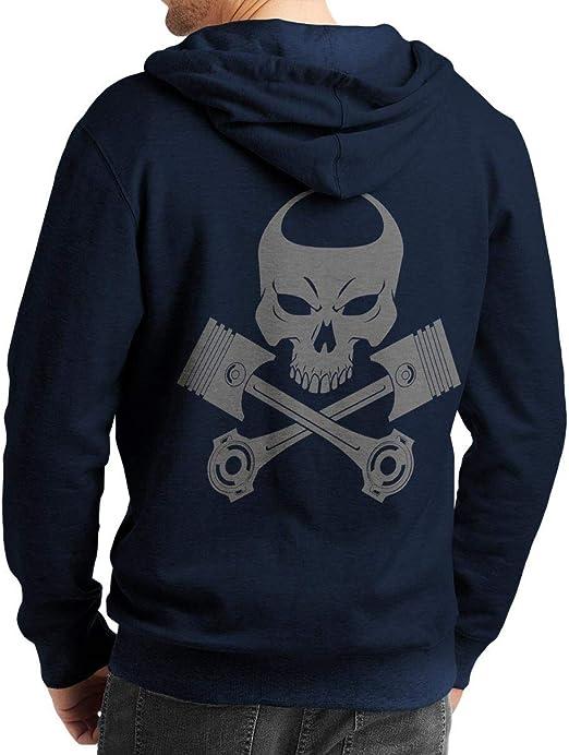 Rebel on Wheels Herren Zip Hoodie Sweat Jacke mit Kapuze Kapuzen Jacke Winter mit Motiv Bedruckt Totenkopf Skull Biker Motorrad Piston Punisher