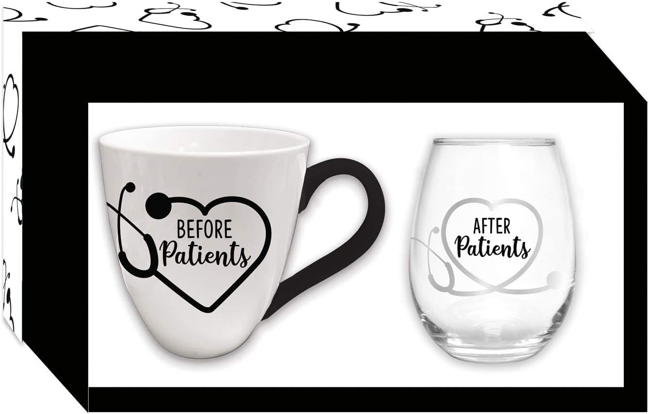 Cypress Home Ceramic Cup and Stemless Wine Gift Set for Medical Professionals - Before Patients & After Patients Coffee Mug and Wine Glass
