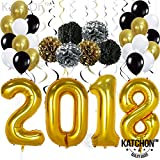Arts & Crafts : 2018 Gold Balloons with Hanging Party Swirls, Paper PomPoms, and Ballons - Graduation Balloons for 2018 Graduation Decorations - Gold Black Silver PomPoms and Swirls -New Years Eve Party Supplies