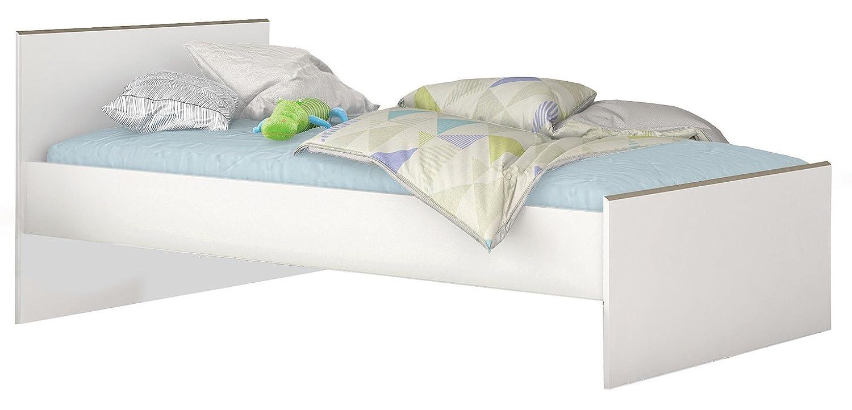 Jugendbett 90200 cm weiß / ton Kinderbett Jugendliege Bettliege Bett Bettgestell Holz Gästebett Studenten Jugendzimmer Kinderzimmer