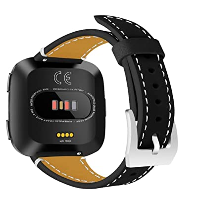 HP95(TM) For Fitbit Versa Band, Classic Leather Wristband Band Replacement Strap For Fitbit Versa (Black)