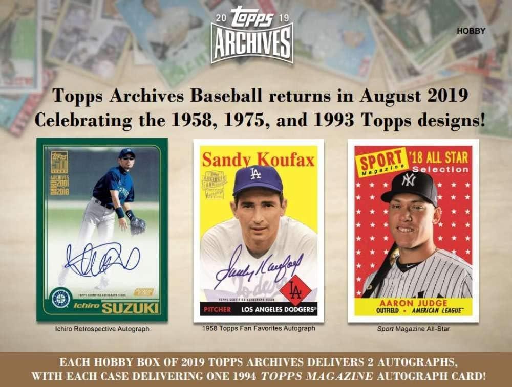2019 Topps Archives Baseball Hobby Box 2 Autos//box