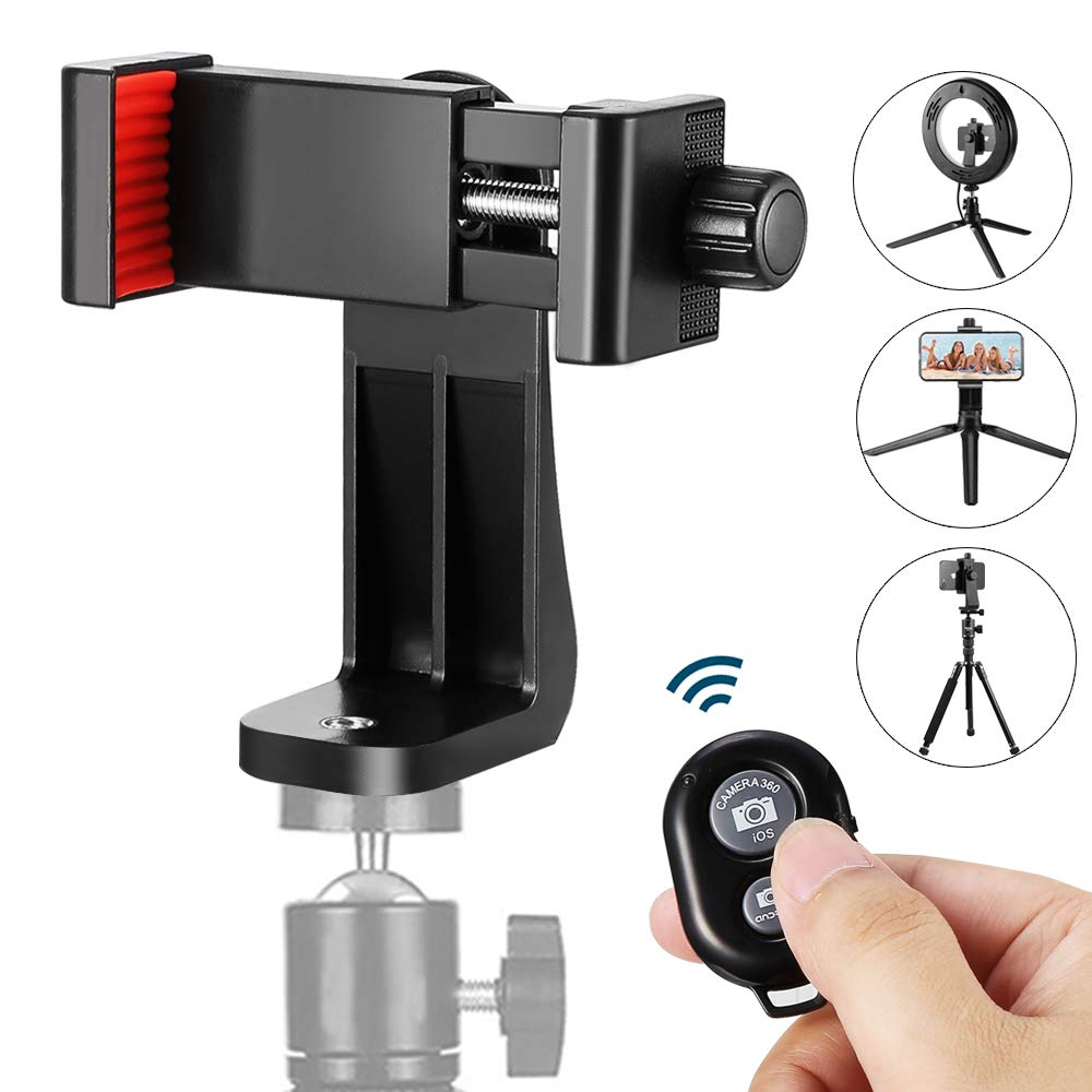 ZOMEi Phone Mount Tripod Adapter with Camera Shutter Remote Control, for iPhone, Samsung Galaxy (iOS and Android) Most Smartphones, Rotatein Vertically and HorizontallyWay, Create Amazing Photos