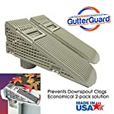 The Gutter Guard - Wedge Eliminates Downspout Pipe Clogs From Leaves and Debris - 2-Pack (2 pack, Grey)