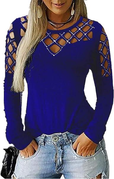 Camisa de Mujer Camisa Hueca Camisa de Manga Larga Elegante y Atractivo Cuello Redondo Tops