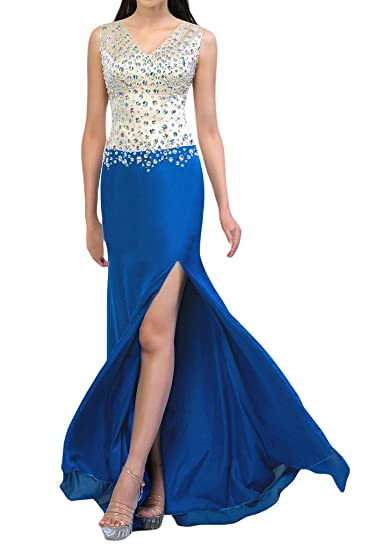 Sunvary Sheath Rhinestones V-Neck Slide Slits Long Evening Dresses Prom Gowns-6