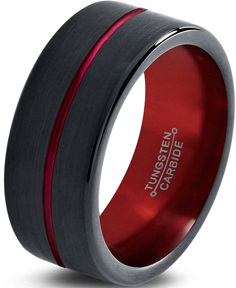 Tungsten Wedding Band Ring 8mm for Men Women Red Black Pipe Cut Brushed Polished Lifetime Guarantee Charming Jewelers CN-1317-C100