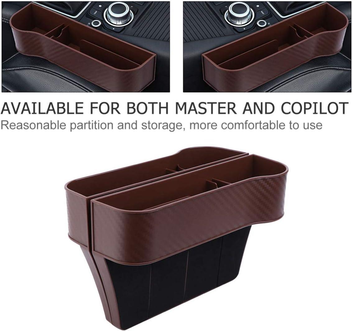 GARNECK 2pcs Car Seat Gap Organizer Storage Box Console Side Pocket Storage Couple Cup Holder Black