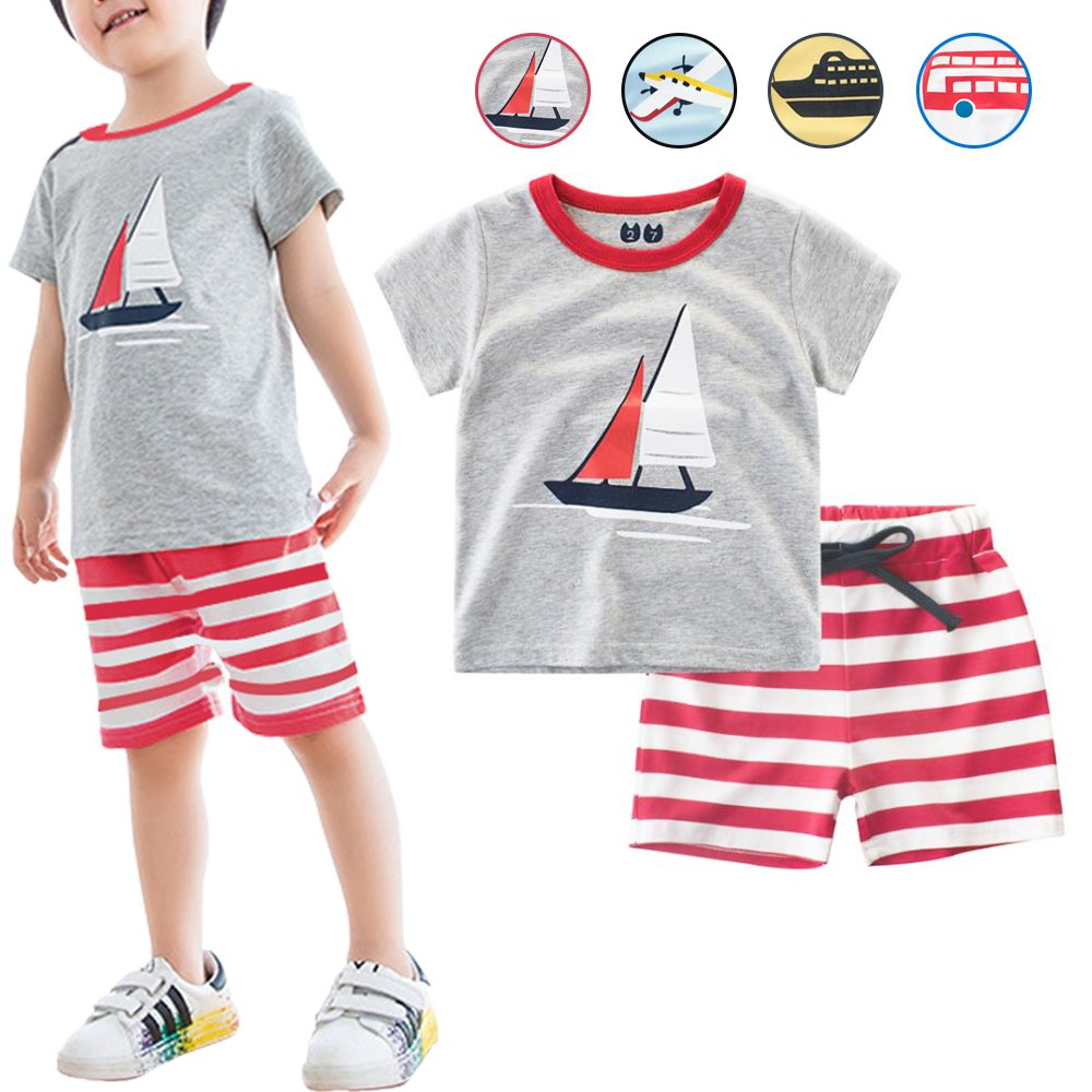 Little Boys 2 Pieces Short Sets 100% Cotton Cute Outfits Summer Pajamas for Toddler Boy (Grey Tops+Red Shorts, 7/6-7 Years)