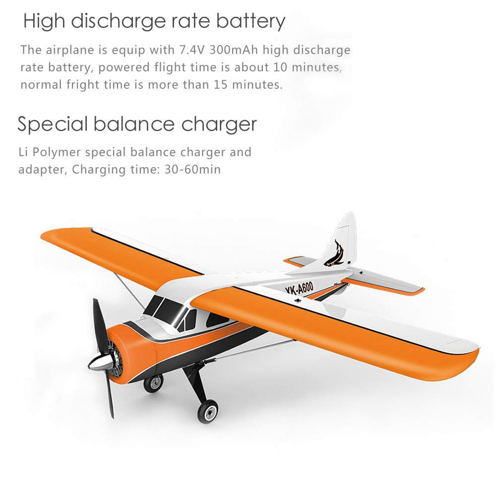 ♞Deadness XK DHC-2 A600 4CH 2.4G Brushless Motor 3D6G RC Airplane 6 Axis Glider (Yellow) by ♞Deadness (Image #2)