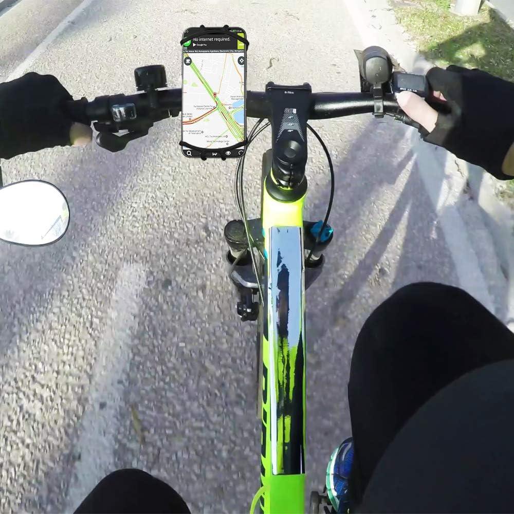 Schwarz E-Scooter Quad Kinderwagen Samsung Galaxy 360/° drehbar von 4-6 Zoll Huawei usw Motorrad Buggy Trike Flex Silikon Handyhalterung Fahrrad f/ür iPhone f/ür Fahrrad Mount View 360