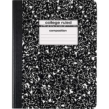 Staples Composition Notebook, College Ruled, Black, 9-3/4'' x 7-1/2'', each (40451M-CC)