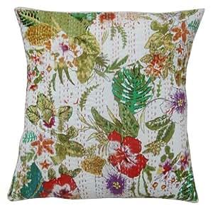 """Handmade Kantha Stitch Cojín decorativo Algodón Blanco Funda de almohada Pulgadas India 18 de regalo """""""